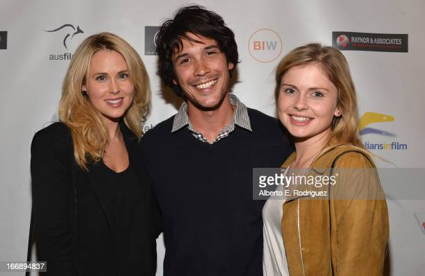 Actors Anna Hutchison Bob Morley and Rose McIver attend Australians In Film's screening of Revival Film Company's 'Blinder' at Los Angeles Film...