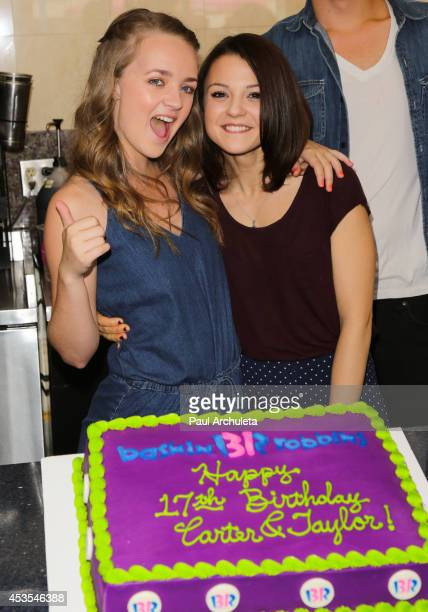 Actors Anna JacobyHeron and Kathryn Prescott attend MTV's 'Finding Carter' fan event at BaskinRobbins on August 12 2014 in Burbank California