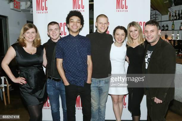 Actors Anna Jordan Jack DiFalco Justice Smith Lucas Hedges Stefania LaVie Owen Ari Graynor and director Trip Cullman attends the Opening Night of MCC...