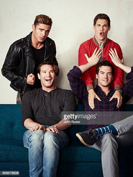 Actors Anna Kendrick Adam DeVine Mike Stangle and Dave Stangle are from 'Mike and Dave Need Wedding Dates' are photographed for 20th Century Fox on...