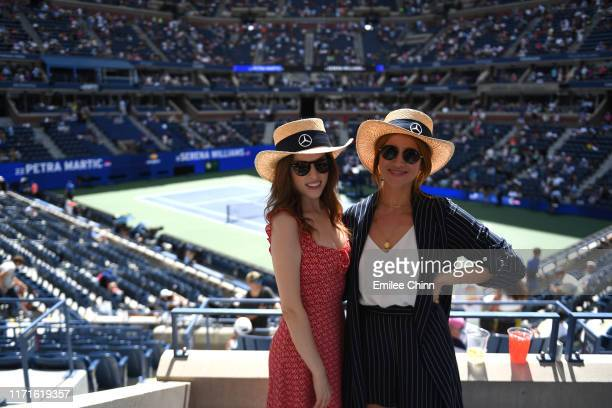 Actors Anna Kendrick and Brittany Snow enjoy The Mercedes-Benz VIP Suite at The 2019 US Open at the USTA Billie Jean King National Tennis Center on...
