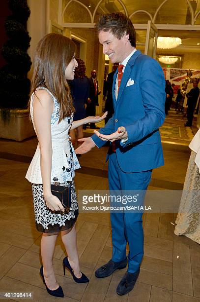 Actors Anna Kendrick and Eddie Redmayne attend the BAFTA Los Angeles Tea Party at The Four Seasons Hotel Los Angeles At Beverly Hills on January 10...