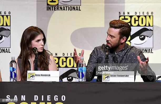 Actors Anna Kendrick and Justin Timberlake attend the DreamWorks Animation Theatrical Presentation for 'Trolls' during ComicCon International 2016 at...