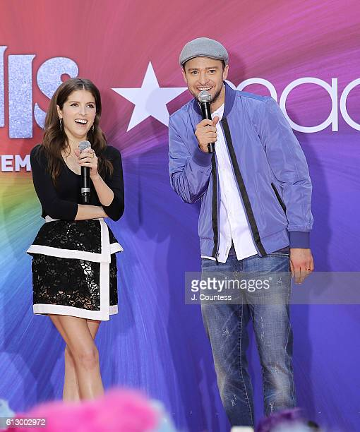 Actors Anna Kendrick and Justin Timberlake onstage at the Macy's celebration of 'Troll' at Macy's Herald Square on October 6 2016 in New York City