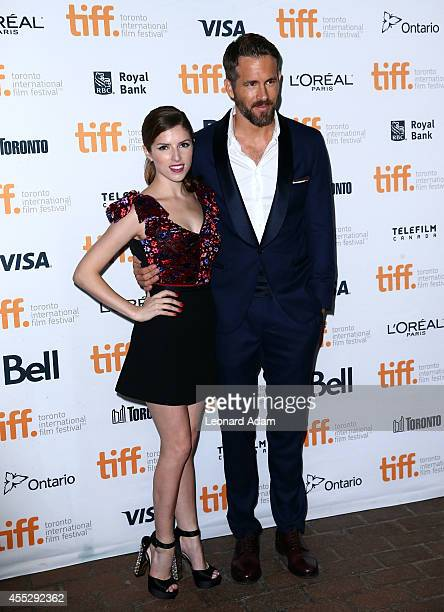 Actors Anna Kendrick and Ryan Reynolds attend The Voices premiere during the 2014 Toronto International Film Festival at Ryerson Theatre on September...