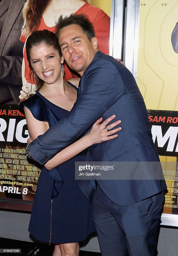 Actors Anna Kendrick and Sam Rockwell attend the 'Mr. Right' New York premiere at AMC Lincoln Square Theater on April 6, 2016 in New York City.