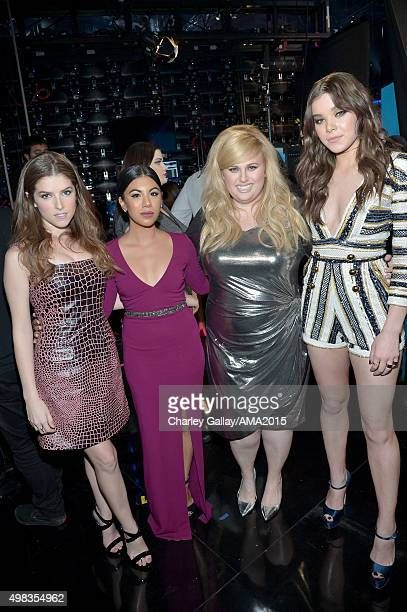 Actors Anna Kendrick Chrissie Fit Rebel Wilson and Hailee Steinfeld attend the 2015 American Music Awards at Microsoft Theater on November 22 2015 in...