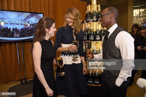 Actors Anna Kendrick Laura Dern and Don Cheadle attend Moet Chandon toast to the 74th Annual Golden Globe Awards nominations on December 12 2016 in...