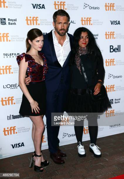 Actors Anna Kendrick Ryan Reynolds and Director Marjane Satrapi attend The Voices premiere during the 2014 Toronto International Film Festival at...