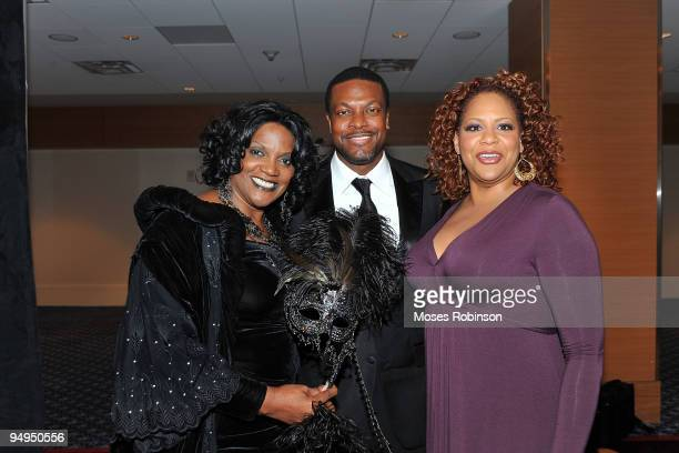Actors Anna Maria Horsford Chris Tucker and Kim Coles attend the 26th anniversary UNCF Mayor's Masked Ball at Atlanta Marriot Marquis on December 19...