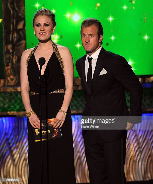 Actors Anna Paquin and Scott Caan speak onstage during the 63rd Annual Primetime Emmy Awards held at Nokia Theatre LA LIVE on September 18 2011 in...