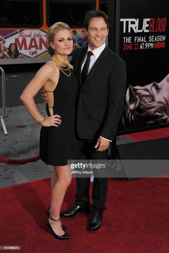 Actors Anna Paquin (L) and Stephen Moyer arrive at HBO's 'True Blood' final season premiere at TCL Chinese Theatre on June 17, 2014 in Hollywood, California.