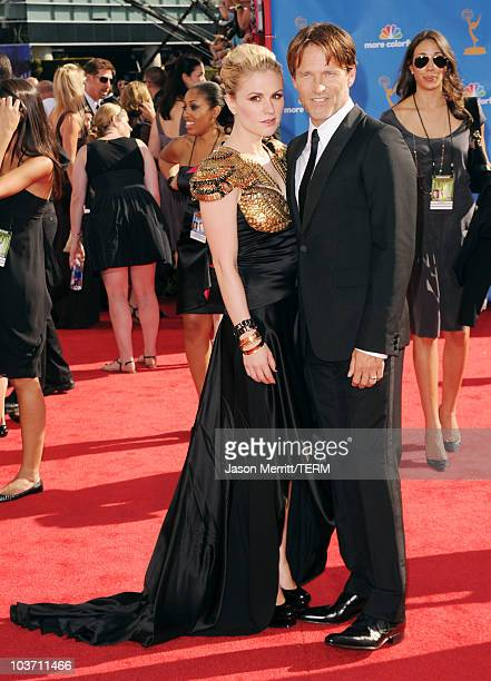 Actors Anna Paquin and Stephen Moyer arrive at the 62nd Annual Primetime Emmy Awards held at the Nokia Theatre LA Live on August 29 2010 in Los...