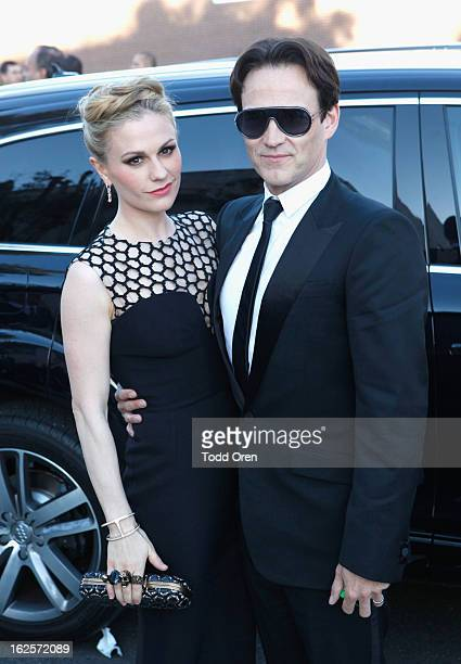 Actors Anna Paquin and Stephen Moyer attend Audi at 21st Annual Elton John AIDS Foundation Academy Awards Viewing Party at West Hollywood Park on...