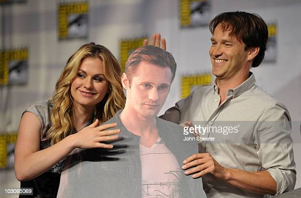 Actors Anna Paquin and Stephen Moyer attend HBO's True Blood Panel during ComicCon 2010 at San Diego Convention Center on July 23 2010 in San Diego...