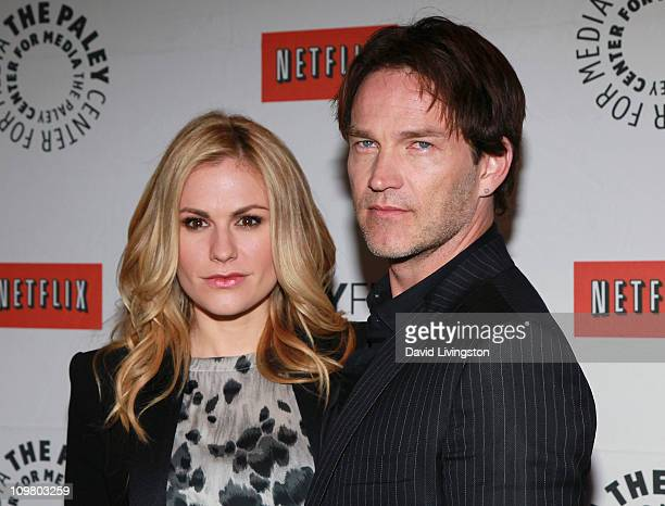 Actors Anna Paquin and Stephen Moyer attend PaleyFest 2011 presents True Blood at the Saban Theatre on March 5 2011 in Beverly Hills California