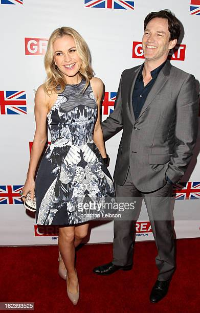 Actors Anna Paquin and Stephen Moyer attend the GREAT British Film Reception at British Consul General's Residence on February 22 2013 in Los Angeles...