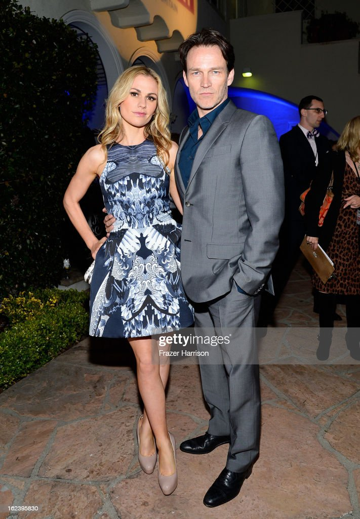 Actors Anna Paquin and Stephen Moyer attend the GREAT British Film Reception at British Consul General's Residence on February 22, 2013 in Los Angeles, California.