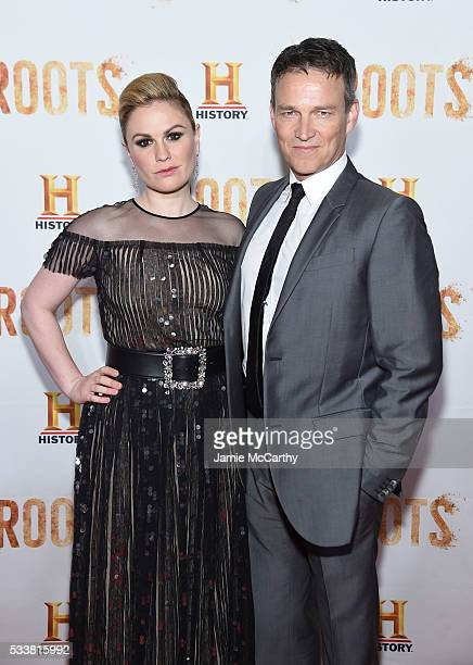 Actors Anna Paquin and Stephen Moyer attend the Roots night one screening at Alice Tully Hall Lincoln Center on May 23 2016 in New York City