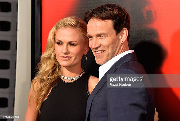 Actors Anna Paquin and Stephen Moyer attends the premiere of HBO's 'True Blood' Season 6 at ArcLight Cinemas Cinerama Dome on June 11 2013 in...