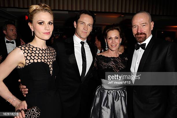 Actors Anna Paquin Stephen Moyer Robin Dearden and Bryan Cranston attend the 2013 Vanity Fair Oscar Party hosted by Graydon Carter at Sunset Tower on...