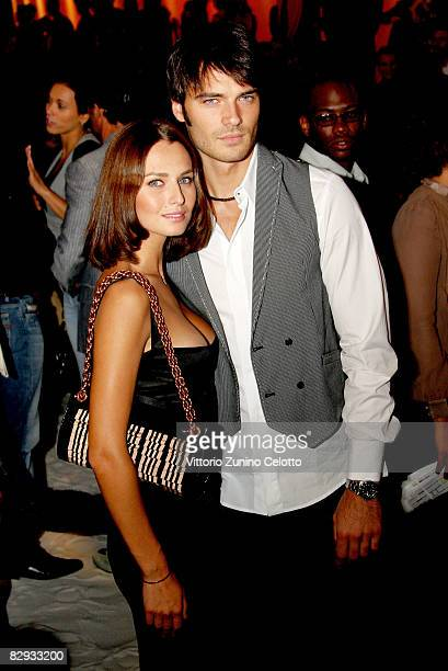 Actors Anna Safroncik and Giulio Berruti attend the Just Cavalli fashion show at Milan Fashion Week Spring/Summer 2009 on September 21 2008 in Milan...