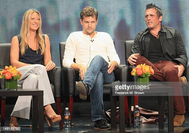 Actors Anna Torv and Joshua Jackson and Executive Producer JH Wyman speak onstage at the 'Fringe' panel during day 3 of the FOX portion of the 2012...