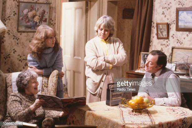 Actors Anna Wing Susan Tully Wendy Richard and Bill Treacher in a scene from the BBC soap opera 'EastEnders' 1984
