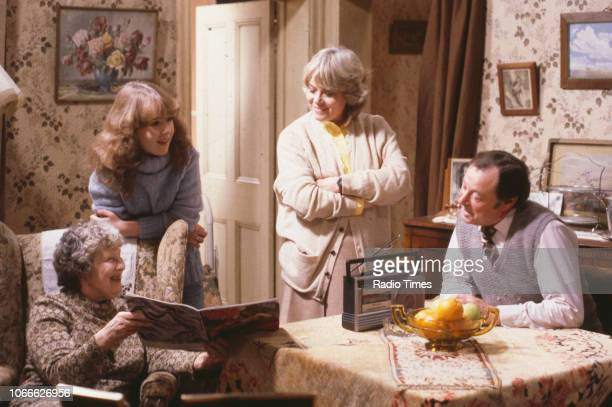 Actors Anna Wing Susan Tully Wendy Richard and Bill Treacher in a scene from the BBC soap opera 'EastEnders' September 26th 1986