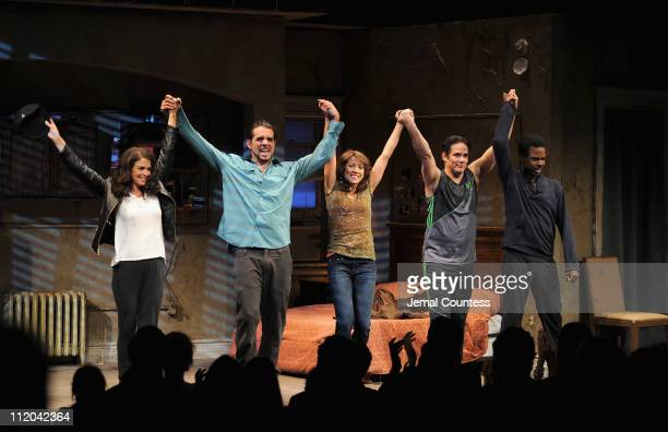 Actors Annabella Sciorra, Bobby Cannavale, Elizabeth Rodriguez, Yul Vazquez and Chris Rock take a bow during curtain call at the Broadway opening...