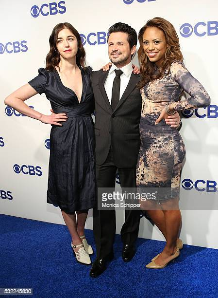 Actors Annabelle Attanasio Freddy Rodriguez and Jaime Lee Kirchner of CBS television series 'Bull' attend the 2016 CBS Upfront at Oak Room on May 18...