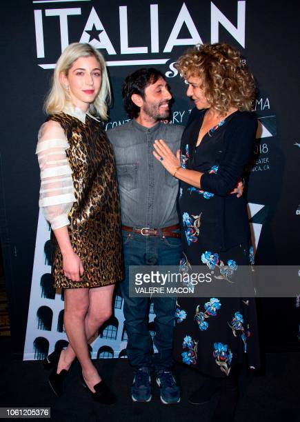 Actors Annabelle Attanasio Marcello Fonte and Valeria Golino arrive at the AFI FEST 2018 Presented By Audi Cinema Italian Style KickOff Event and...