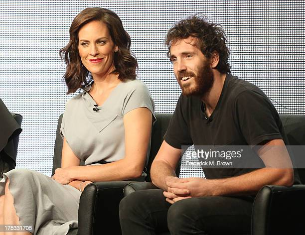 Actors Annabeth Gish and Thomas M Wright speak onstage during The Bridge panel discussion at the FX portion of the 2013 Summer Television Critics...