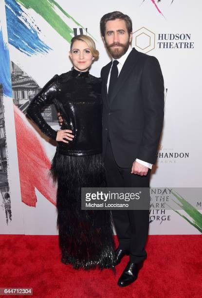 Actors Annaleigh Ashford and Jake Gyllenhaal attend 'Sunday In The Park With George' Broadway opening night after party at New York Public Library on...