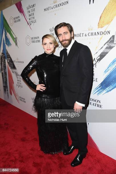 Actors Annaleigh Ashford and Jake Gyllenhaal toast to the Hudson Theatre reopening with Moët Chandon at the New York Public Library on February 23...