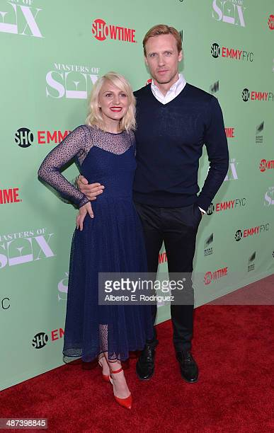 Actors Annaleigh Ashford and Teddy Sears arrive to an exclusive conversation with the cast of Showtime's 'Masters Of Sex' at Leonard H Goldenson...