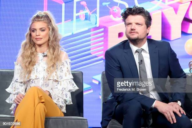 Actors AnnaLynne McCord and Matt Jones of 'Let's Get Physical' speak onstage during the POPTV portion of the 2018 Winter Television Critics...