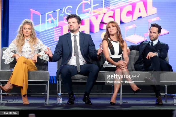 Actors AnnaLynne McCord Matt Jones Jane Seymour and Chris Diamantopoulos of 'Let's Get Physical' speak onstage during the POPTV portion of the 2018...