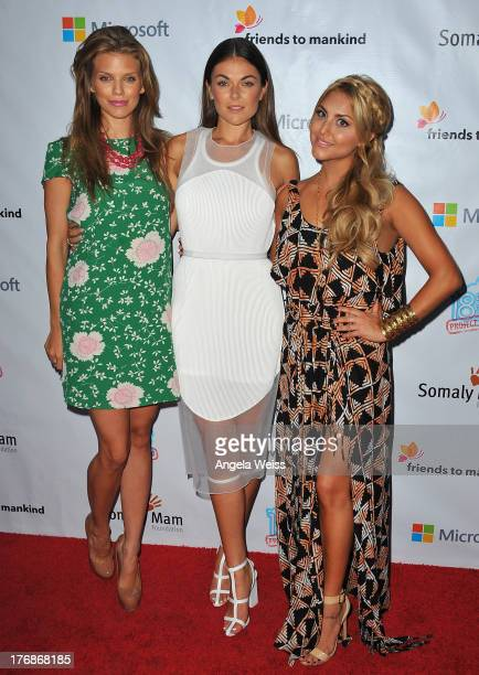 Actors AnnaLynne McCord Serinda Swan and Cassie Scerbo arrive at the 18for18 Summer Soiree Honoring the Somaly Mam Foundation on August 18 2013 in...