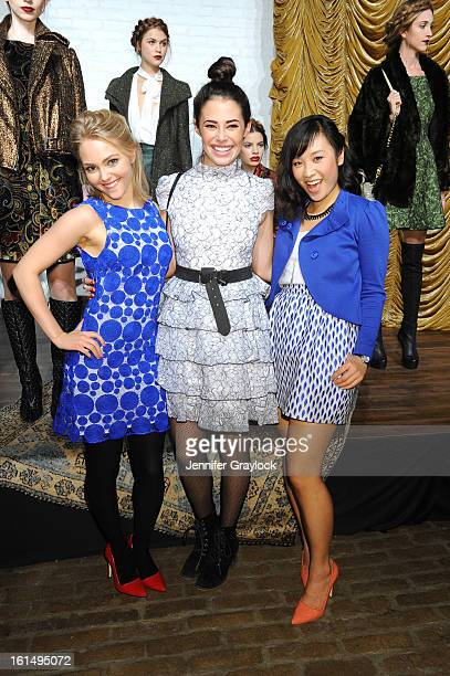 Actors AnnaSophie Robb Chloe Bridges Ellen Wong pose at the Alice Olivia By Stacey Bendet Fall 2013 fashion show presentation during MercedesBenz...
