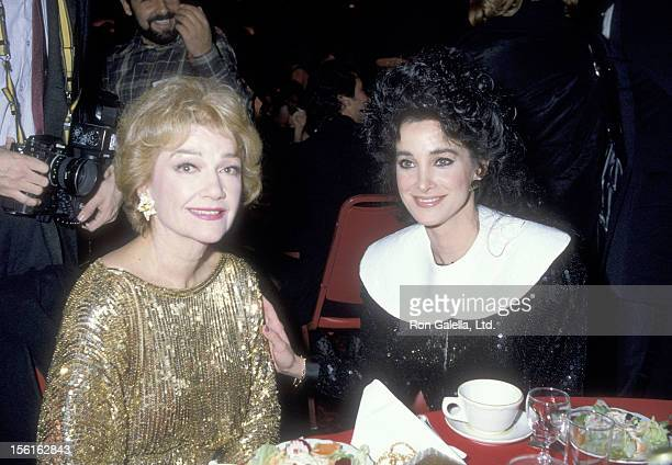 Actors Anne Baxter and Connie Sellecca attend the 14th Annual NAACP Image Awards on December 4 1983 at Hollywood Palladium in Hollywood California