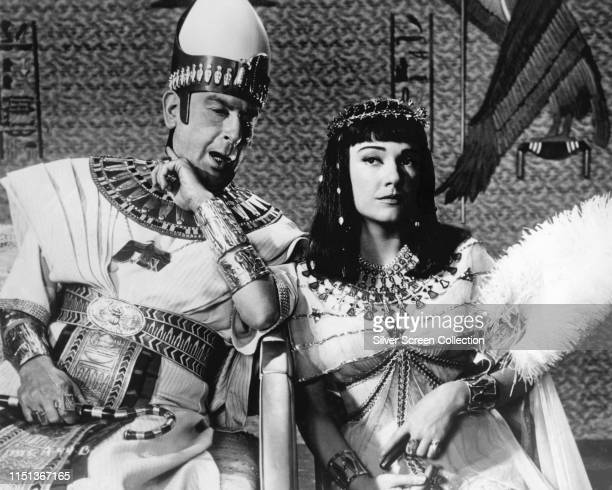 Actors Anne Baxter as Nefretiri and Cedric Hardwicke as Sethi in the biblical epic 'The Ten Commandments' 1956
