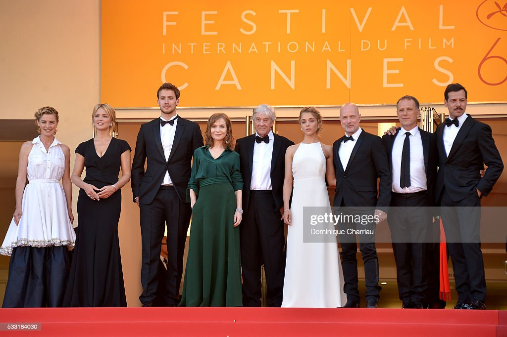 Actors Anne Consigny, Virginie Efira, Jonas Bloquet, Isabelle Huppert, director Paul Verhoeven, actors Alice Isaaz, Christian Berkel, Charles Berling and Laurent Lafitte attend the 'Elle' Premiere during the 69th annual Cannes Film Festival at the Palais des Festivals on May 21, 2016 in Cannes, France.