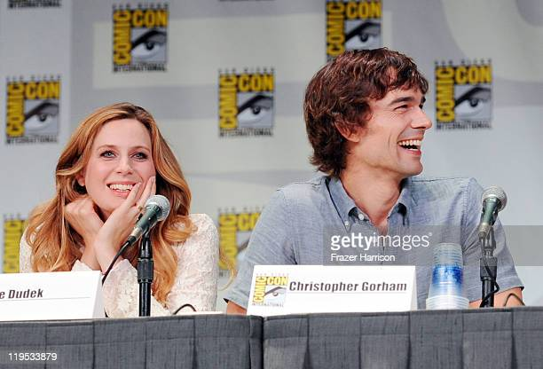 Actors Anne Dudek anbd Christopher Gorham speak at Covert Affairs Panel during ComicCon 2011 on July 21 2011 in San Diego California