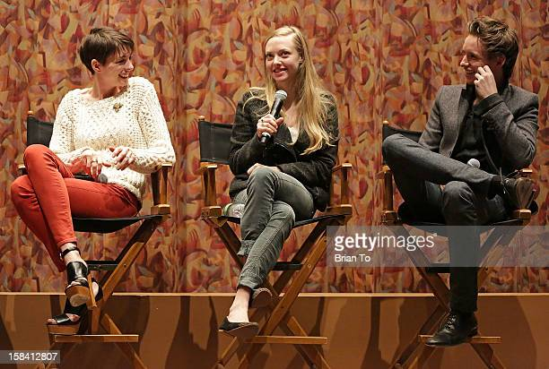 Actors Anne Hathaway Amanda Seyfried and Eddie Redmayne attend SAG special screening and QA of 'Les Miserables' at Writers Guild Theater on December...