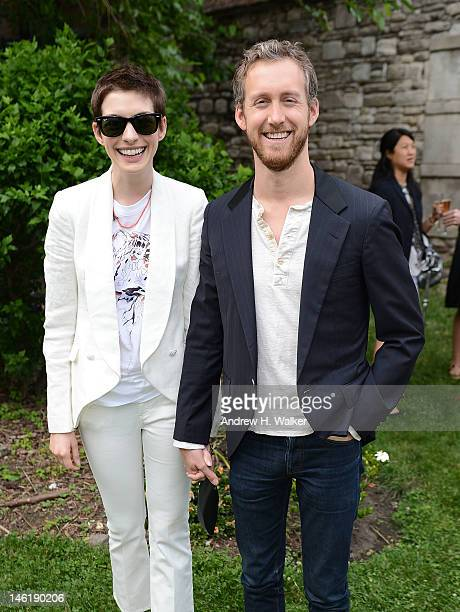Actors Anne Hathaway and Adam Shulman attend the Stella McCartney Resort 2013 Presentation on June 11 2012 in New York City