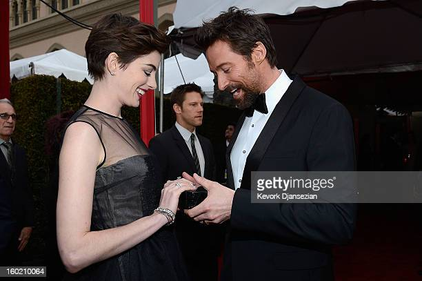 Actors Anne Hathaway and Hugh Jackman arrives at the 19th Annual Screen Actors Guild Awards held at The Shrine Auditorium on January 27 2013 in Los...
