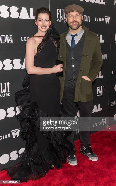 Actors Anne Hathaway and Jason Sudeikis attend the 'Colossal' premiere at AMC Lincoln Square Theater on March 28, 2017 in New York City.