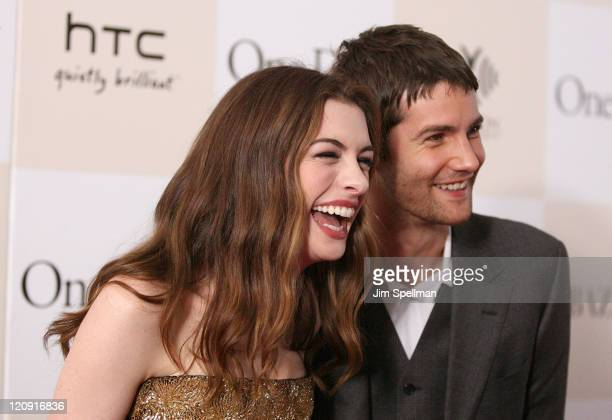 Actors Anne Hathaway and Jim Sturgess attend the One Day premiere at the AMC Loews Lincoln Square 13 theater on August 8 2011 in New York City