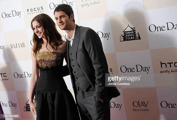 Actors Anne Hathaway and Jim Sturgess on the red carpet at the One Day premiere at the AMC Loews Lincoln Square 13 theater on August 8 2011 in New...